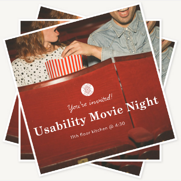 Invitation to Movie Night at the 11th floor cafe, with a picture of two people at the cinema sharing a box of popcorn